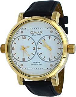 Omax FA11G32A Men's XL Gold Tone Leather Band White Dial Dual Time Watch
