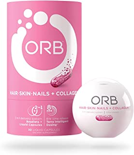 ORB Hair, Skin, Nails + Collagen – Biotin, Collagen | Supports Radiant Skin, Lustrous and Vibrant Hair, and Strong Nails – 30 Count