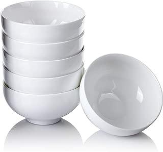 Alt-GT 12 oz Porcelain Bowls Set,Small Ceramic Bowls for Cereal,Soup,Salad,Pasta,Side Dishes,Dessert - Set of 6,White