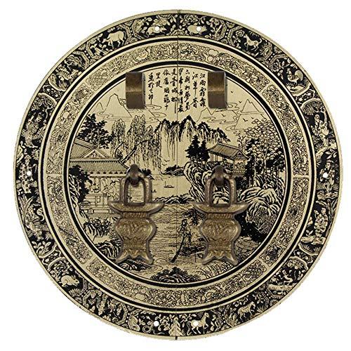 Golpeador de cobre, manija antigua de la puerta Puerta del armario chino Tiradores redondos Manijas de los muebles Perilla de la placa frontal-BronceULa aguja-30Cm