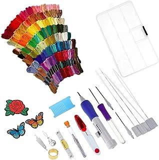HEALLILY Kit de broderie avec aiguilles de perçage Magic Embroidery Pen Set, ensemble de stylo-aiguilles de perçage avec f...
