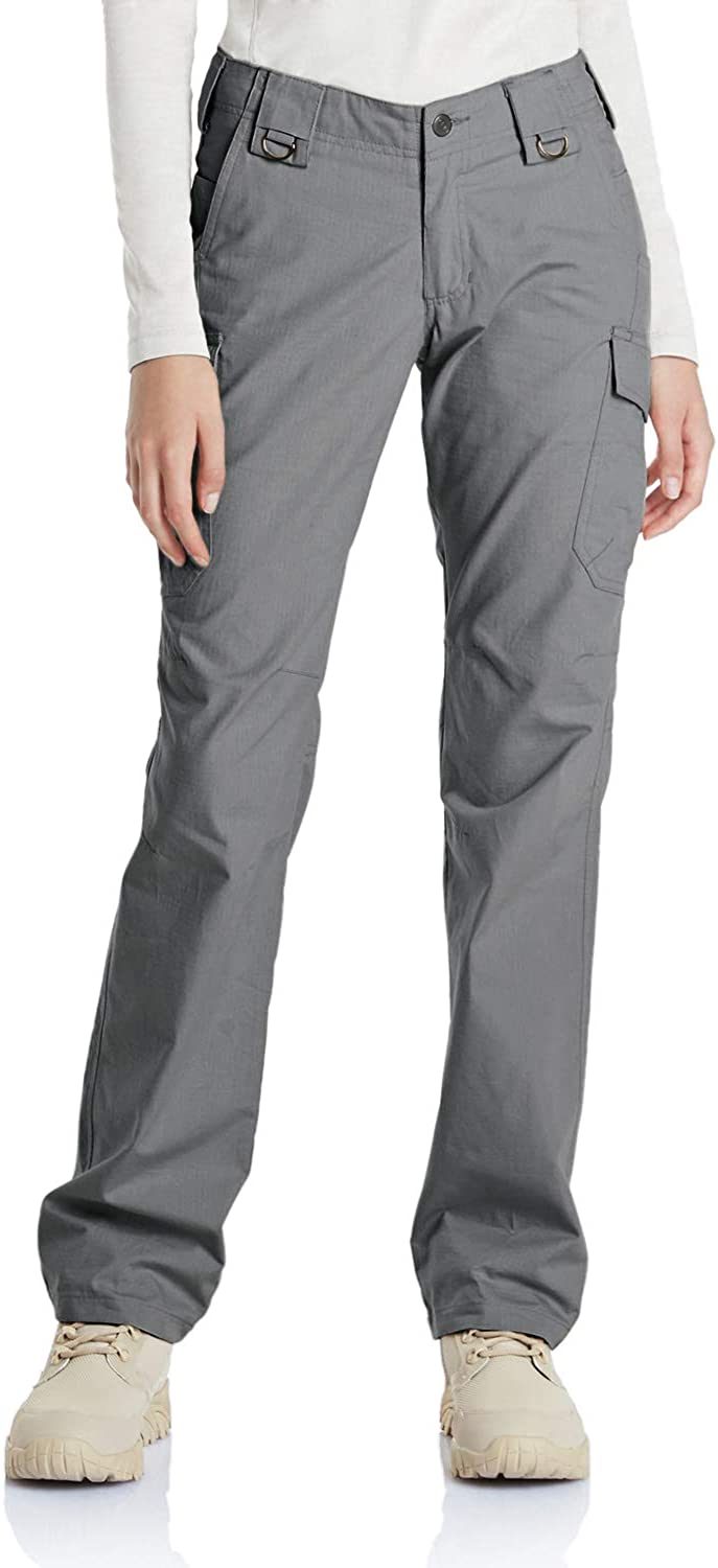 CQR Women's Flex Stretch Tactical Pants, Water Repellent Ripstop Work Pants, Elastic Waist Straight/Cargo Pants with Pockets: Clothing