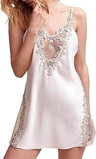 WADAYUYU Women's Bridal Lingerie Deep V Neck Sexy Chemise Lace Babydoll Short Wedding Nightgown