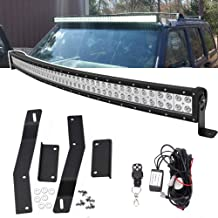 50 inch Curved LED Light Bar Kit For Jeep Cherokee XJ 1984-2001, 288W Double Row Light Bar & Upper Roof Windshield Mounting Brackets w/Remote Wiring Kit
