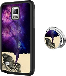 Designed Smoking Old Man Samsung Galaxy Note 4 Case with Buckle Ring 360° Rotatable Silvery Durable Ring Buckle, TPU Black Antiskid Tread Phone Case for Samsung Galaxy Note 4