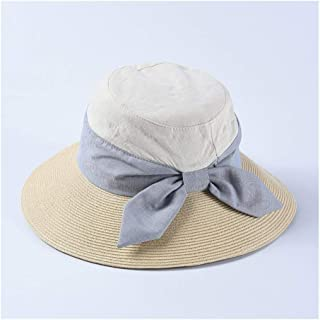 ZiWen Lu Straw hat New Korean Bow Visor Ladies Straw Fabric Stitching Collapsible Sun hat (Color : Beige)