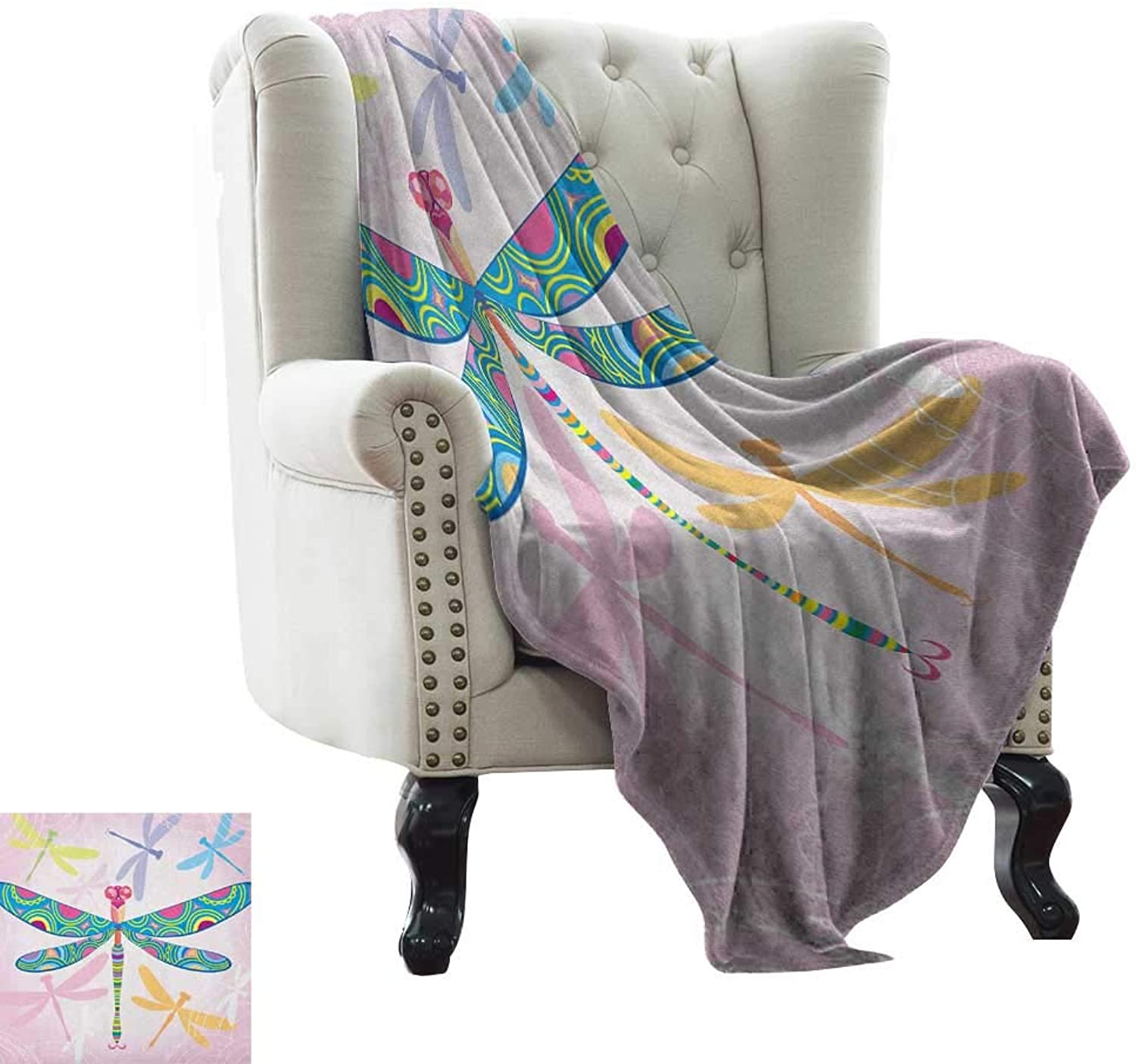Warmfamily Dragonfly,Digital Printing Blanket,Vibrant Dragonfly Kids Figure in Tones Wildlife Graphic Artwork 60 x36 ,Super Soft and Comfortable,Suitable for Sofas,Chairs,beds