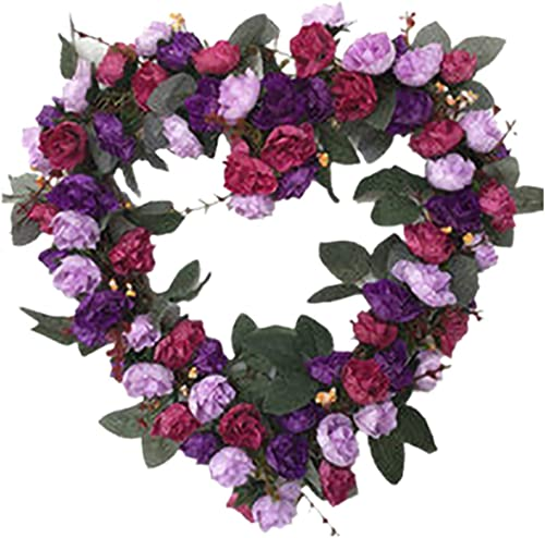 wholesale 14 Inch Rose Flower Heart Wreath Valentines Day Decor, Peony Flowers Garland Wreath, Handmade online Home Decor for Valentine's Day Christmas Party, Simulation Rose sale Flowers Wreath Ornament online sale