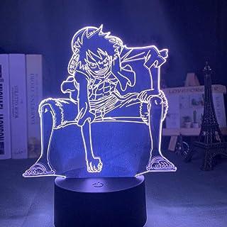 3D Acrylique LED Night Decor Decor Decor Monkey D Luffy Figure Néon Signe Chambre à coucher enfants Cool Manga Gadget Lamp...
