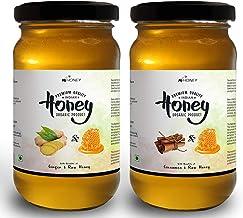 HiHoney Raw and Unpasteurized Saurashtra Honey Bee Farm Organic Ginger and Cinnamon Infused Honey Glass Jar Combo (250 g + 20 g x 2)