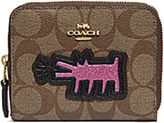 Coach KEITH HARING SMALL ZIP AROUND WALLET IN SIGNATURE CANVAS WITH PATCHES