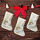 FULIYA (3 paquetes) calcetines de Navidad de 19 cm, dibujos animados de ballena buceando en el océano y dividiendo el agua en dos imágenes impresas, decoraciones de fiesta de Navidad