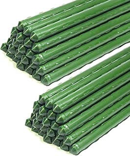 G-LEAF 3-Ft Sturdy Metal Tomato Garden Stakes Cage Plastic Coated Steel Tube Plant Sticks for Tomato,Cucumber,Strawberry, ...