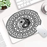 Comfortable Mouse Pad 25x32 cm,<span class='highlight'>Ying</span> Yang,Ornate Symbol with Lace Style Blossom Patterns Inspirational Far Eastern Print D,with Waterproof Textured Surface, Non-slip Rubber Base, Durable Stitched Edges