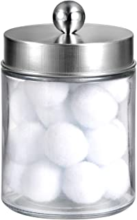 Apothecary Jars Bathroom Vanity Organizer -Countertop Canister Jar with Storage Lid - Qtip Dispenser Holder Glass for Qtips,Cotton Swabs,Makeup Sponges,Hair Band - Brushed Nickel (1 Pack)