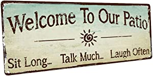 HBA Sun Protected Welcome to Our Patio Metal Sign, Outdoor Living, Rustic Decor