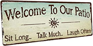 Homebody Accents Sun Protected Welcome to Our Patio Metal Sign, Outdoor Living, Rustic Decor