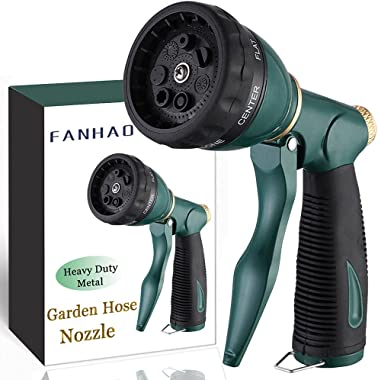 FANHAO Garden Hose Nozzle Sprayer Heavy Duty, 100% Metal Spray Nozzle High Pressure Water Hose Nozzle with 7 Patterns for Wat