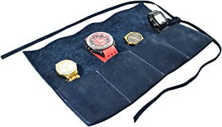 Hide & Drink Durable Leather Travel Watch Roll Organizer Holds Up to 4 Watches Handmade Blue Suede