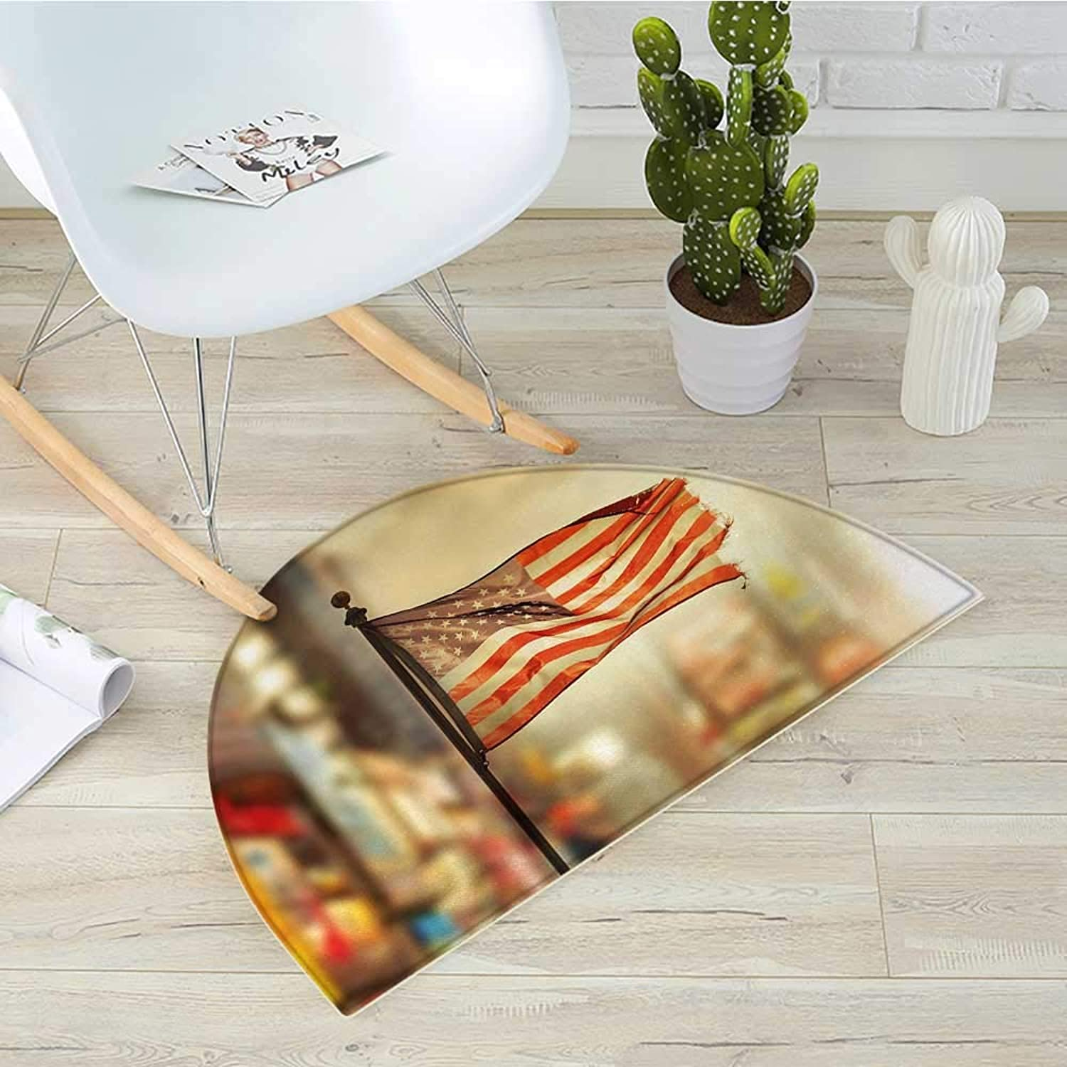 United States Half Round Door mats American Flag Waving in City National Independence Day Celebration Theme Bathroom Mat H 39.3  xD 59  Sepia Red bluee