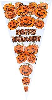 TINKSKY 100個 ハロウィン ギフトバッグ 三角袋 コーンキャンディバッグ セロファンバッグ トリートバッグ ハロウィンパーティー用(かぼちゃ)
