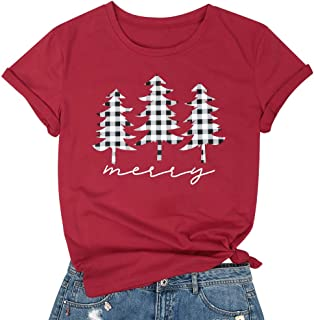 MYHALF Women Meery Letter Printed T Shirt Christmas Funny Trees Graphic Short Sleeve Blouse Tops