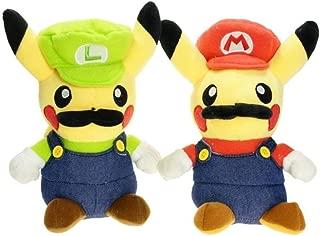 2pcs Pikachu Plush Doll Super Mario Luigi Figure Soft Toy