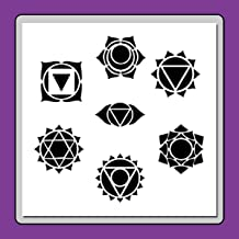 12 X 12 inch (7 in 1) Chakras Symbols Stencil Template Meditation/Body/Energy/Crown,Third Eye, Throat, Heart, Solar, Sacral and Root.