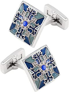 Alloy Vintage Pattern Cufflinks Square Shirt Studs Mens Jewelry Work Blue