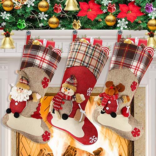 Ausein Calcetín de Navidad 3 pcs,Bolsa de Regalo de Saco de Navidad para la decoración del árbol,Adorno de Navidad Bolsa de Dulces, Calcetín de decoración navideña para llenar y Colgar (46 * 22 cm)