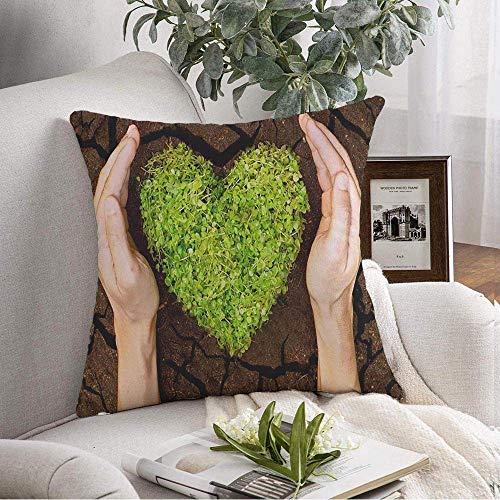 Funda de almohada cuadrada decorativa Hope Hands Deforestation Holding Tree Agrietado Arreglado en forma de corazón Bud Naturaleza Signos Símbolos Save Funda de cojín suave para dormitorio Sofá Sofá