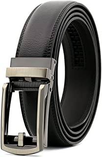 """Men's Comfort Genuine Leather Belt with One Click Buckle, Fit for 27-46"""" (Black)"""