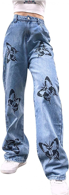Y2K Fashion Jeans for Women, Teen Girls Butterfly Straight Fit Denim Jeans High Waisted Wide Leg Streetwear Trousers