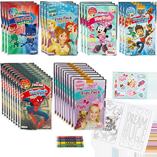 Bendon Pack of 30 Grab & Go Play Pack Assortment for Boys & Girls, Bulk Party Favor Set, Stickers Coloring Books Crayons Featuring Disney Princess, Paw Patrol, Minnie Mouse, Spiderman and PJ Masks
