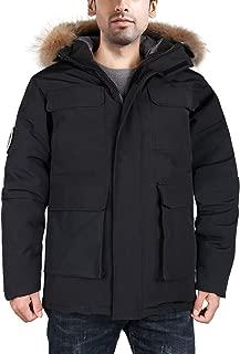 Men's Goose Down Parka Winter Coats Arctic Expedition Jacket Waterproof Warmest Outerwear with Fur Hood