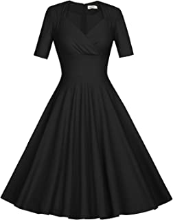 MUXXN Women's 50s Vintage Short Sleeve Pleated Swing Dress