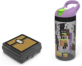 Zak Designs Minecraft Food Container and 19 oz. Spout Water Bottle Set, Leak-Proof Designs are Perfect for School Kids (Minecraft, BPA-Free, 2pc Set)