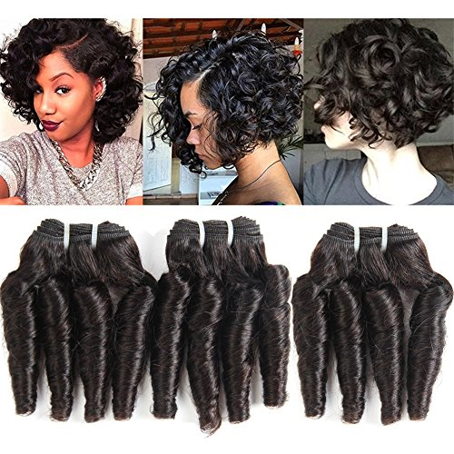 Molefi Brazilian Funmi Hair 3 Bundles Spiral Curl Human Hair Short Curly Weave 8A Unprocessed Brazilian Human Hair Extensions 100g/pc Full Head Natural Color (10
