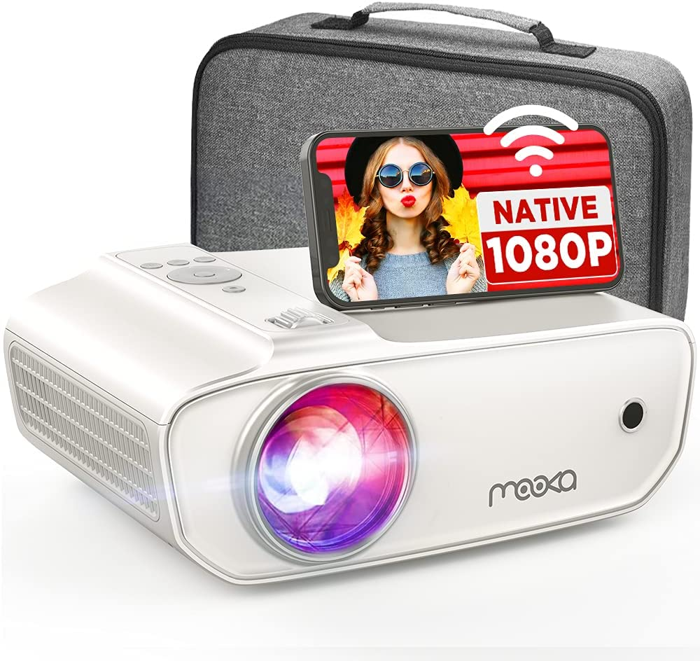 MOOKA Native 1080P Projector with WiFi , 8500L HD Movie Projector for Outdoor Use, Zoom, Sleep Timer, HiFi Speaker, Support 300