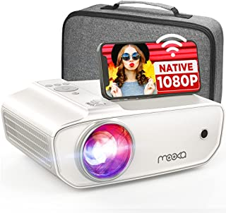 MOOKA Native 1080P WiFi Projector, 8500L HD Movie Projector with Carrying Case, Home Theater Video Projector Support Sync ...