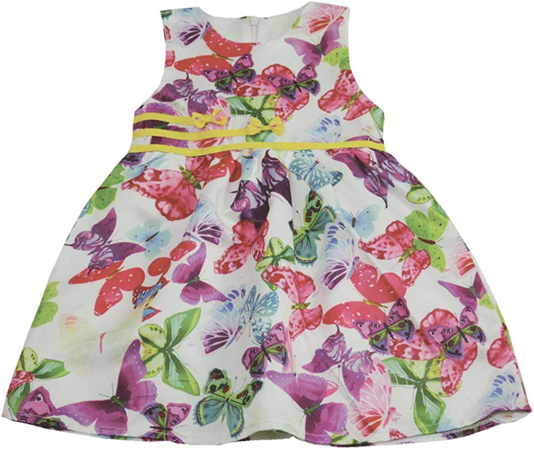 Girls' Princess Print Floral Elegant Sleeveless Dresses with Double Bow Tie