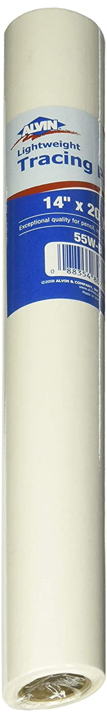 Alvin 55W-B Lightweight White Tracing Paper Roll, 14