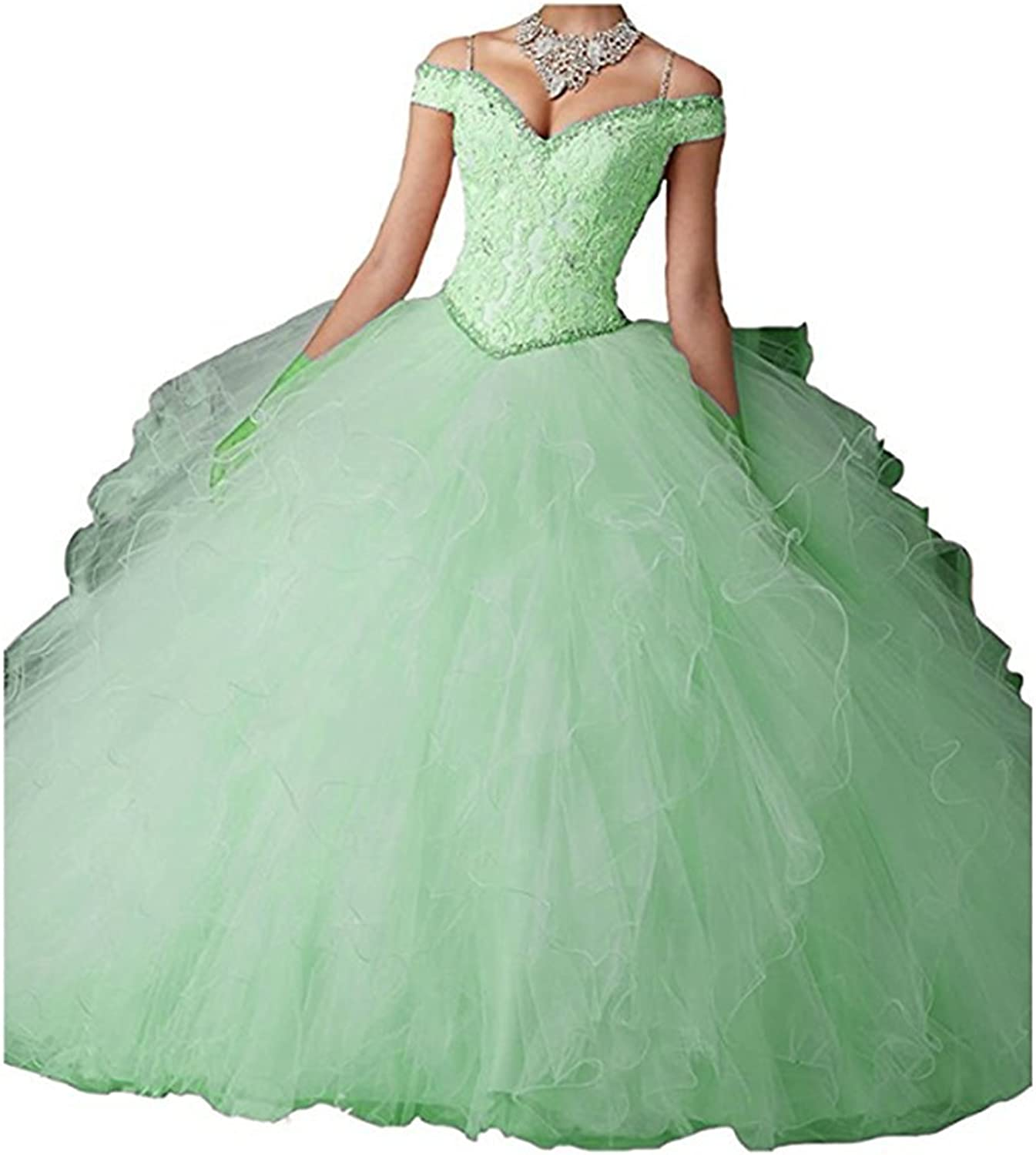 W.W Handmade Appliqued Beaded Prom Quinceanera Dresses Formal Long Party Ball Gown