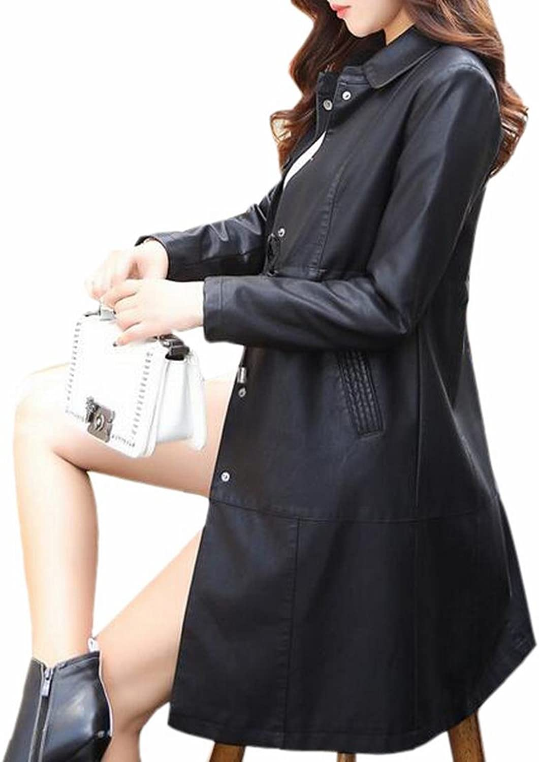 CBTLVSN Women Long Sleeve Belted Pure FauxLeather PU Trench Coat Overcoats