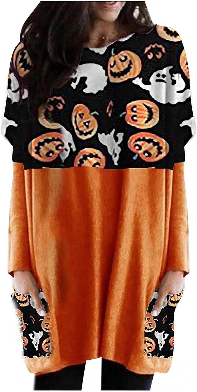UOCUFY Sweatshirt for Women, Womens Halloween Pumpkin Print Casual Long Sleeve Shirts Oversized Tunic Tops with Pocket