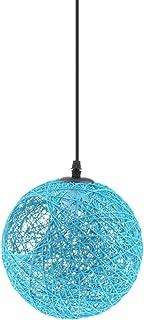 Lámpara de Araña Luz de Techo Forma Globo Colgante con Cuerda de Ratán Decoración para Sala de Estar Hotel Corredor Pasillo - azul