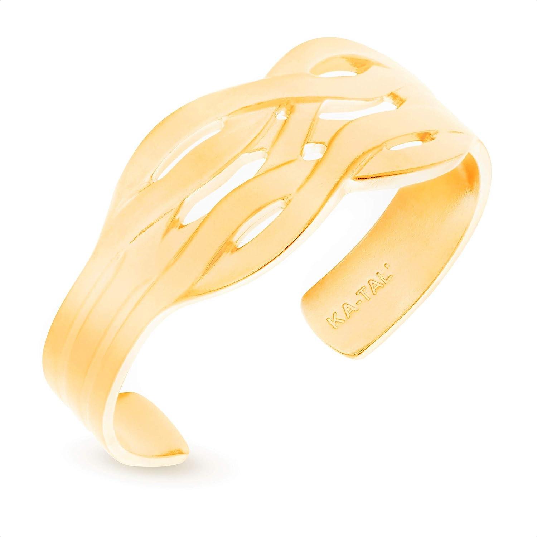 KA-TAL' SeaWave Gold-Tone Cuff Bracelet Average Size 14K Gold Plated Pewter Shiny Outside and Inside