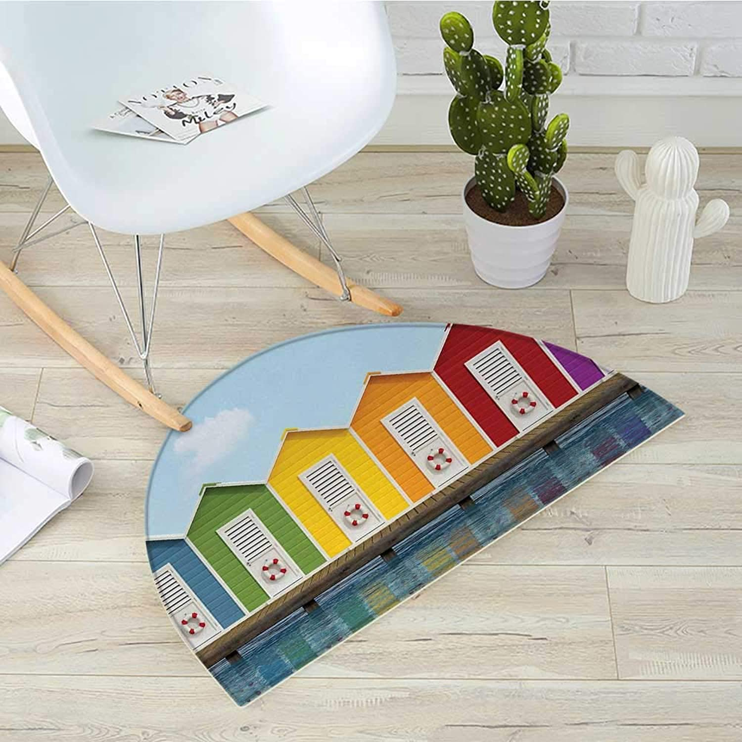 Landscape Half Round Door mats Image of colorful Beach Cabins on an Old Wooden Pier by Sea Summer Beach House Bathroom Mat H 31.5  xD 47.2  Multicolor
