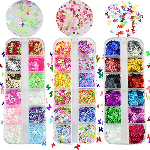 3D Butterfly Nail Art Glitter Sequins Colorful Laser Butterfly Nail Sequin Acrylic Paillettes, Holographic Nail Sparkle Confetti Paillettes for DIY,Eye Makeup Sequins,Lip Gloss Decorations (3)