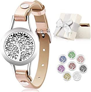 Jack & Rose Essential Oil Diffuser Bracelet,Stainless Steel Aromatherapy Locket Bracelets Leather Band with 8 Color Pads,Girls Jewelry Gift Set for Valentines Day